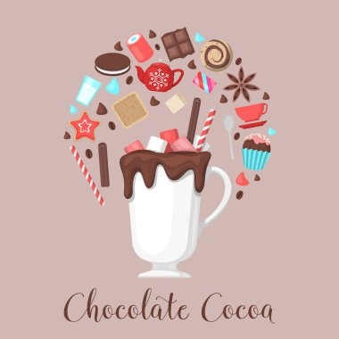 Chocolate Cocoa Drink Mug with Coffee Beans and Sweet Food. Vector illustration