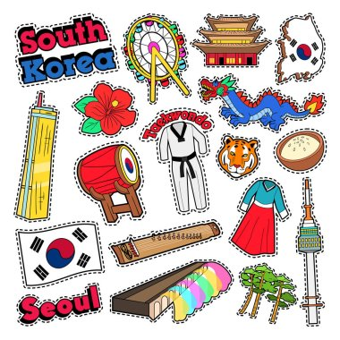 South Korea Travel Elements with Architecture and Taekwondo. Vector Doodle