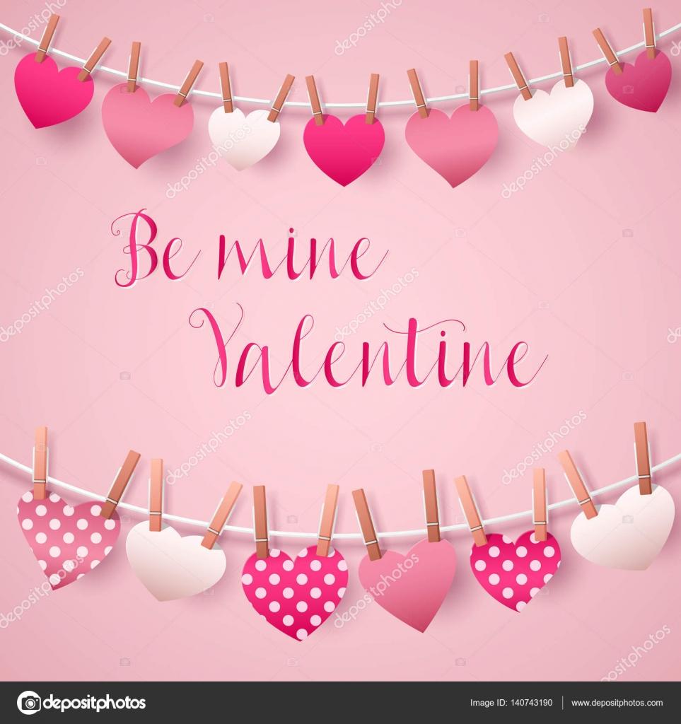 Happy Valentines Day Grußkarte mit Herz Girlande. Vektor ...