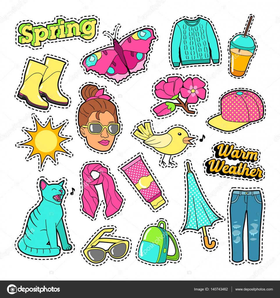 spring woman fashion with clothes and accessories for