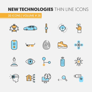 Modern Technologies Linear Thin Line Vector Icons Set with Smart House and Quadrocopter