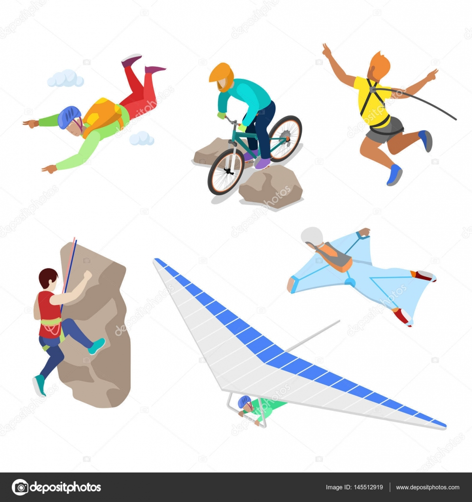Extreme Sports: Isometric Extreme Sports People With Bungee, Skydiving And