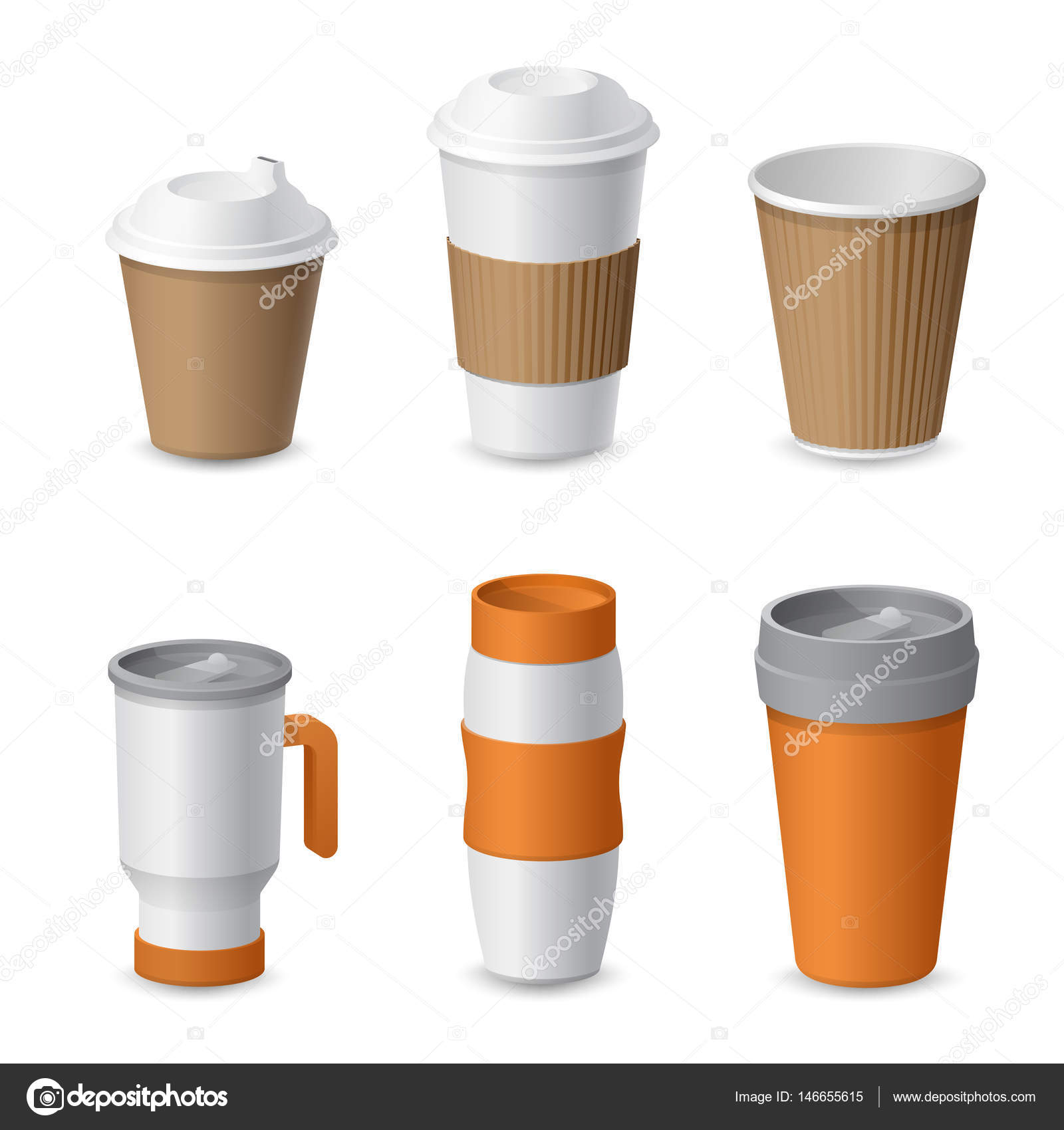 Coffee Cup And Mug Template Mockup For Branding Realistic Vector Illustration Stock