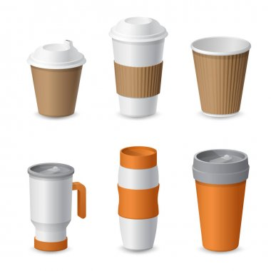 Coffee Cup and Mug Template Mockup for Branding. Realistic vector illustration