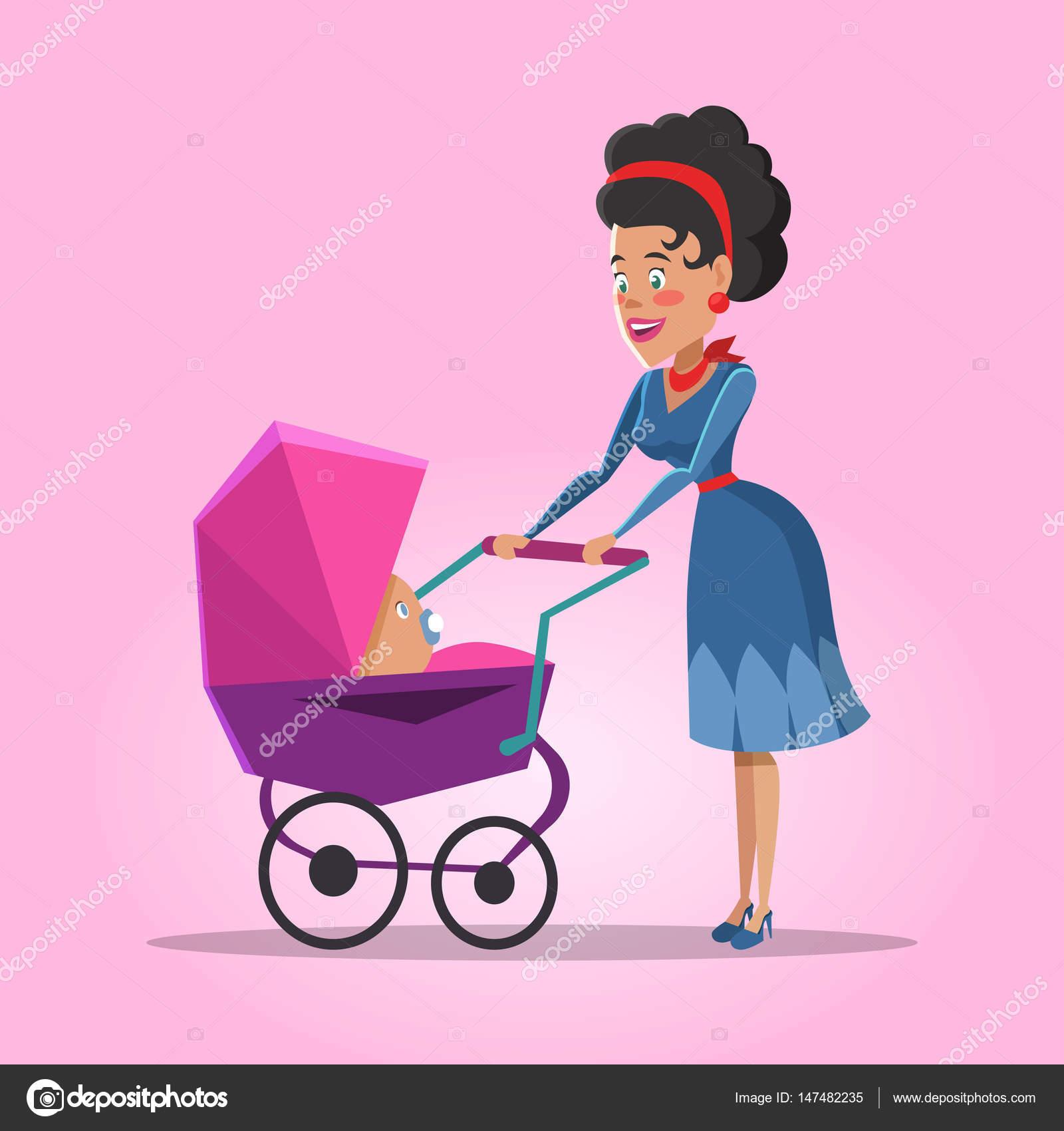 jeune maman avec b b nouveau n illustration de dessin anim de vecteur image vectorielle. Black Bedroom Furniture Sets. Home Design Ideas