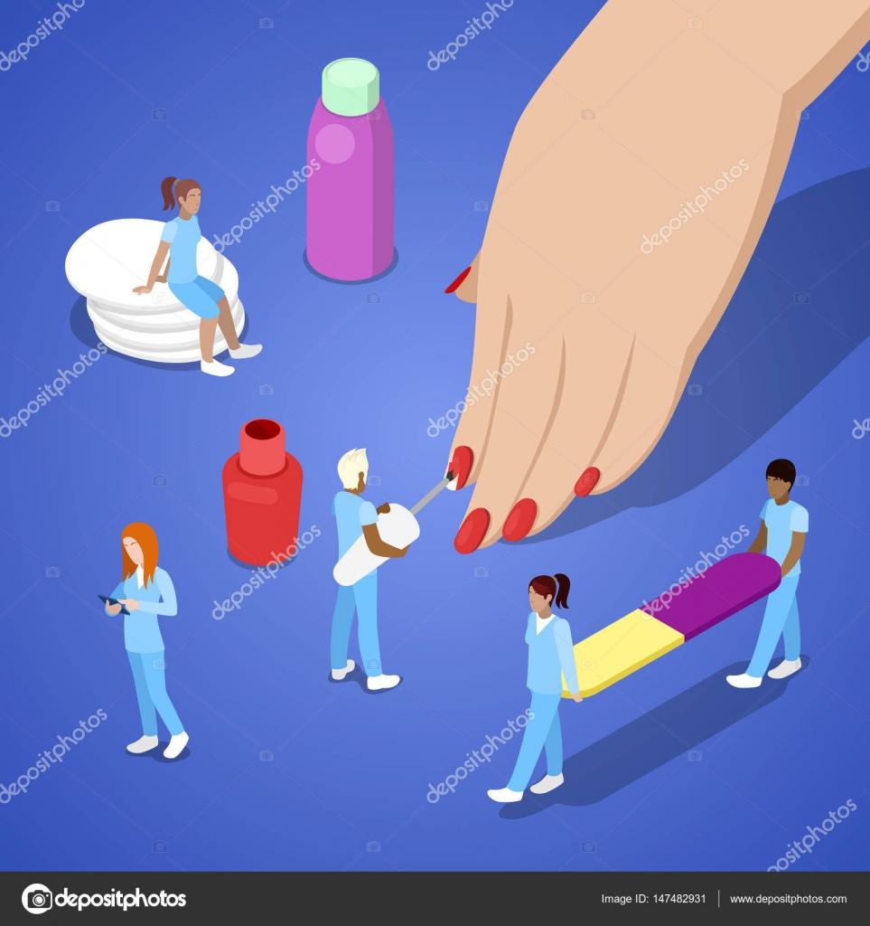 Gente miniatura hacer manicura. Mujer mano aplicar esmalte de uñas ...