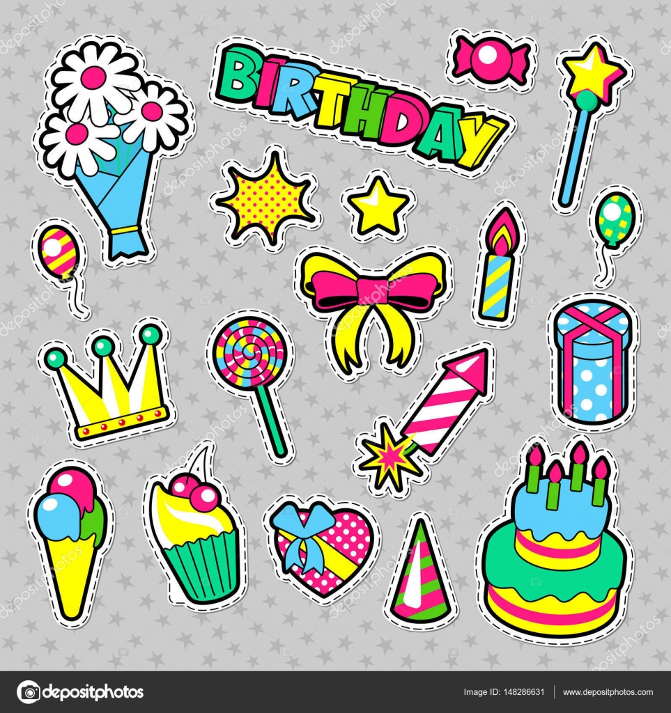 Thème danniversaire fashion badges patchs stickers happy birthday party éléments dans