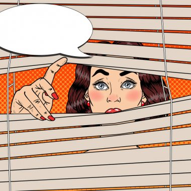 Woman Looking Through the Blinds. Pop Art Vector retro illustration