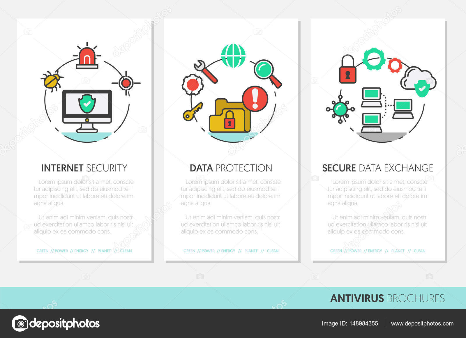 business brochure template internet security data protection linear