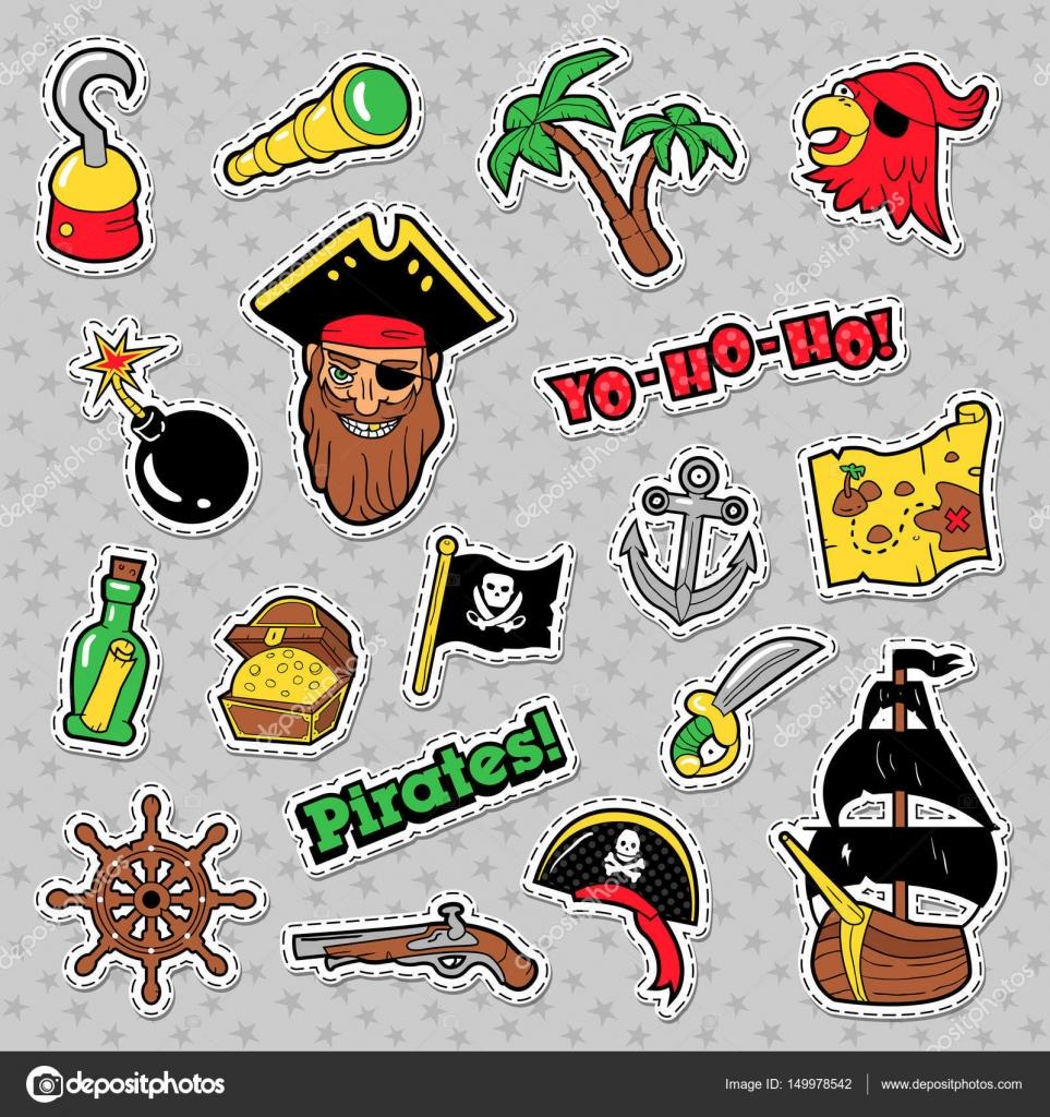 Piraten Badges Patches En Stickers Met Schip Crossbones Skelet