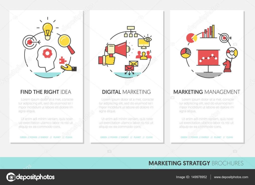 Marketing estrategia negocios folleto plantilla con línea fina ...