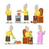 Fotografie Happy Grandmother with Grandson Cartoon. Senior Woman Lifestyle. Vector character illustration