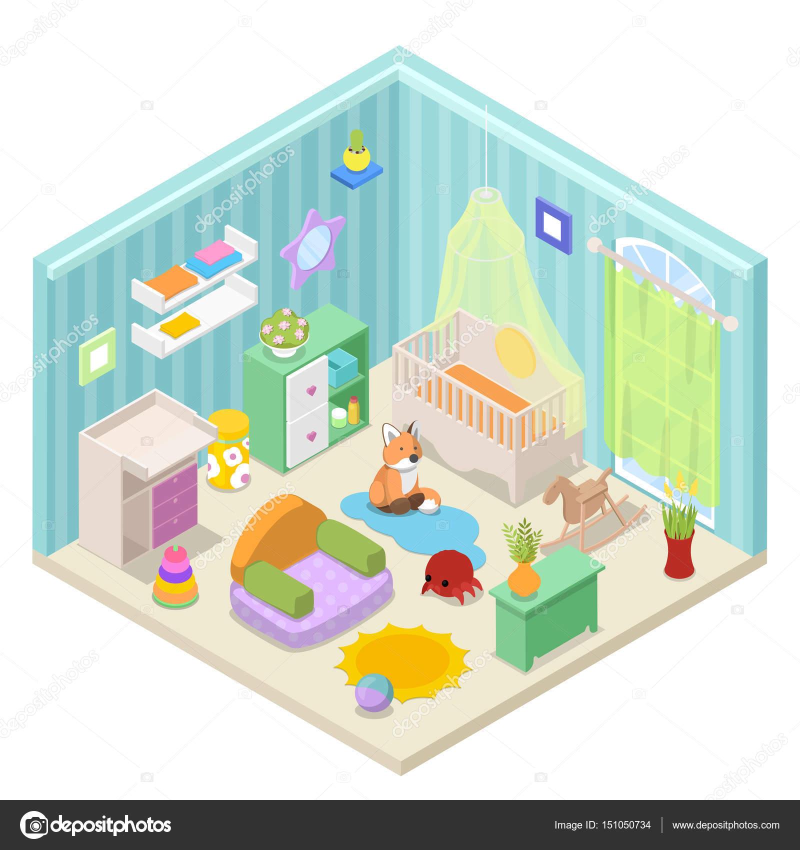 아기 방 인테리어 디자인 가구와 장난감입니다. 아이소메트릭 ...