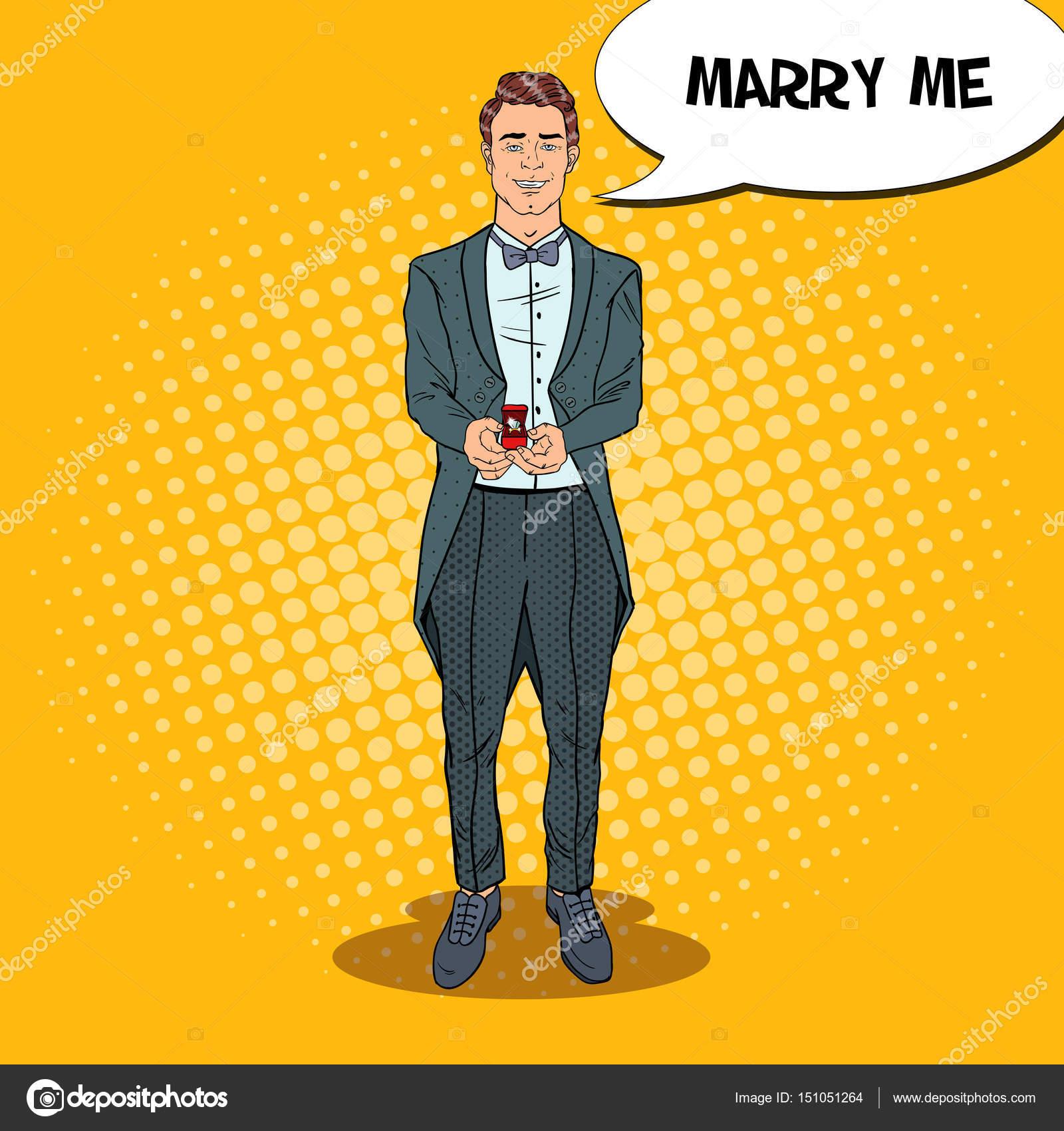 Matrimonio In Frac : Pop art belluomo in frac con anello di nozze. proposta di