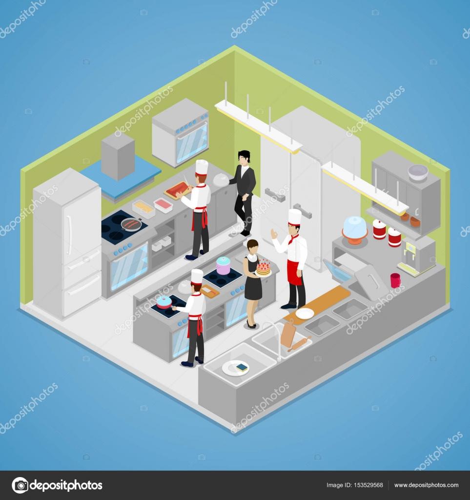 Restaurant Küche Interieur. Isometrische — Stockvektor © vectorlab ...