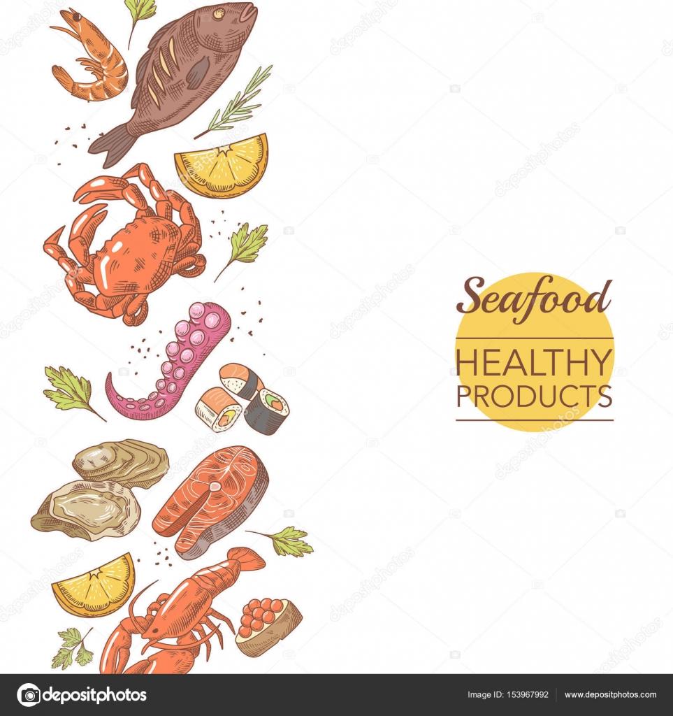 Meeresfrüchte gesunde Produkte Restaurant Menüvorlage. Fisch ...