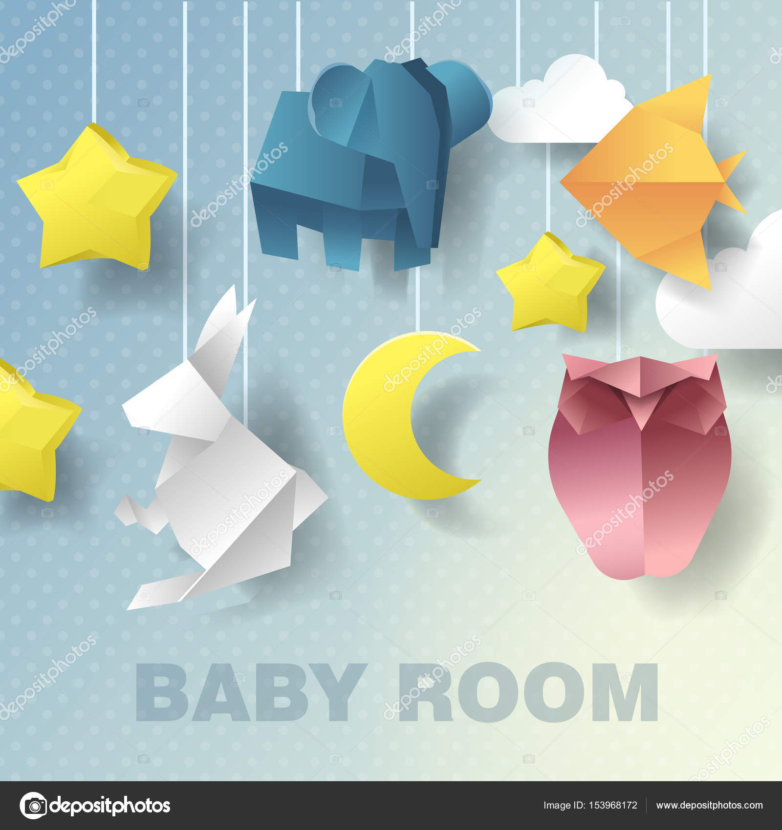Baby Mobile Room Decoration. Baby Shower Invitation. Vector Paper ...