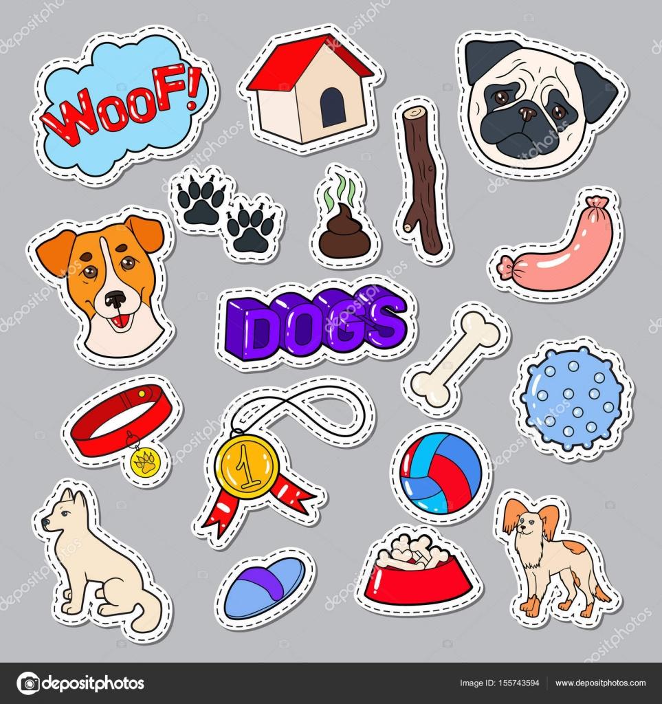 Lustige Hunde Doodle Mit Welpen Und Spielzeug Haustier Aufkleber