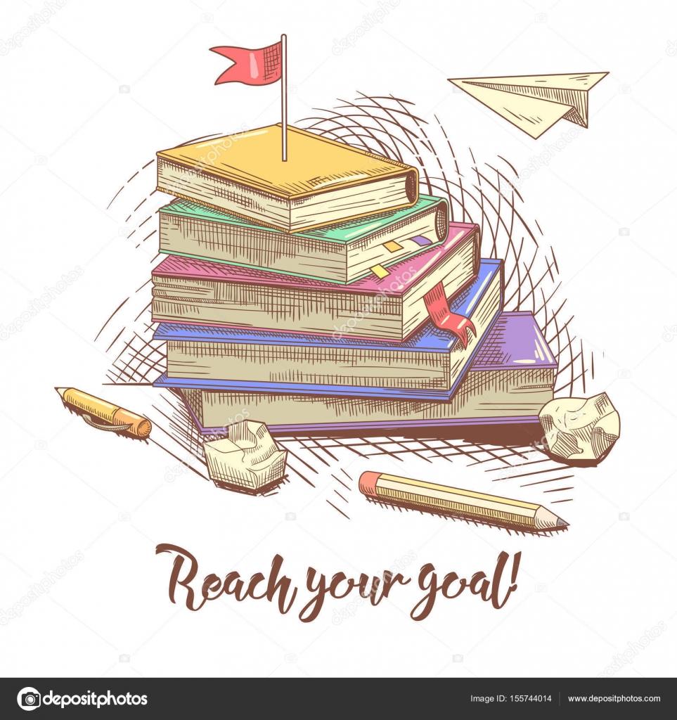Bücherstapel gezeichnet  Bücherstapel Hand gezeichnet mit rote Fahne auf der Oberseite ...