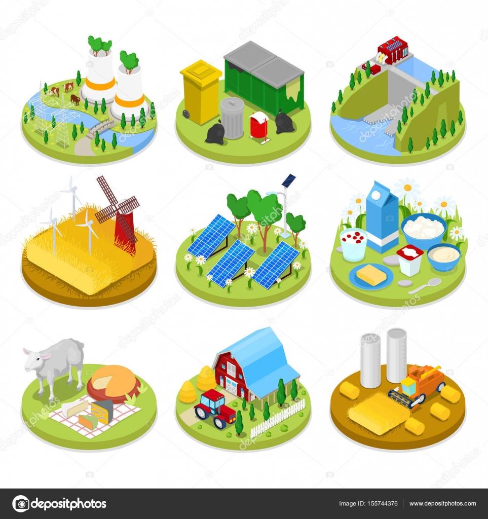 等距生态学概念。可再生能源。农业产业化。健康的天然食品。矢量平面三维图 — 图库矢量图像© vectorlab ...