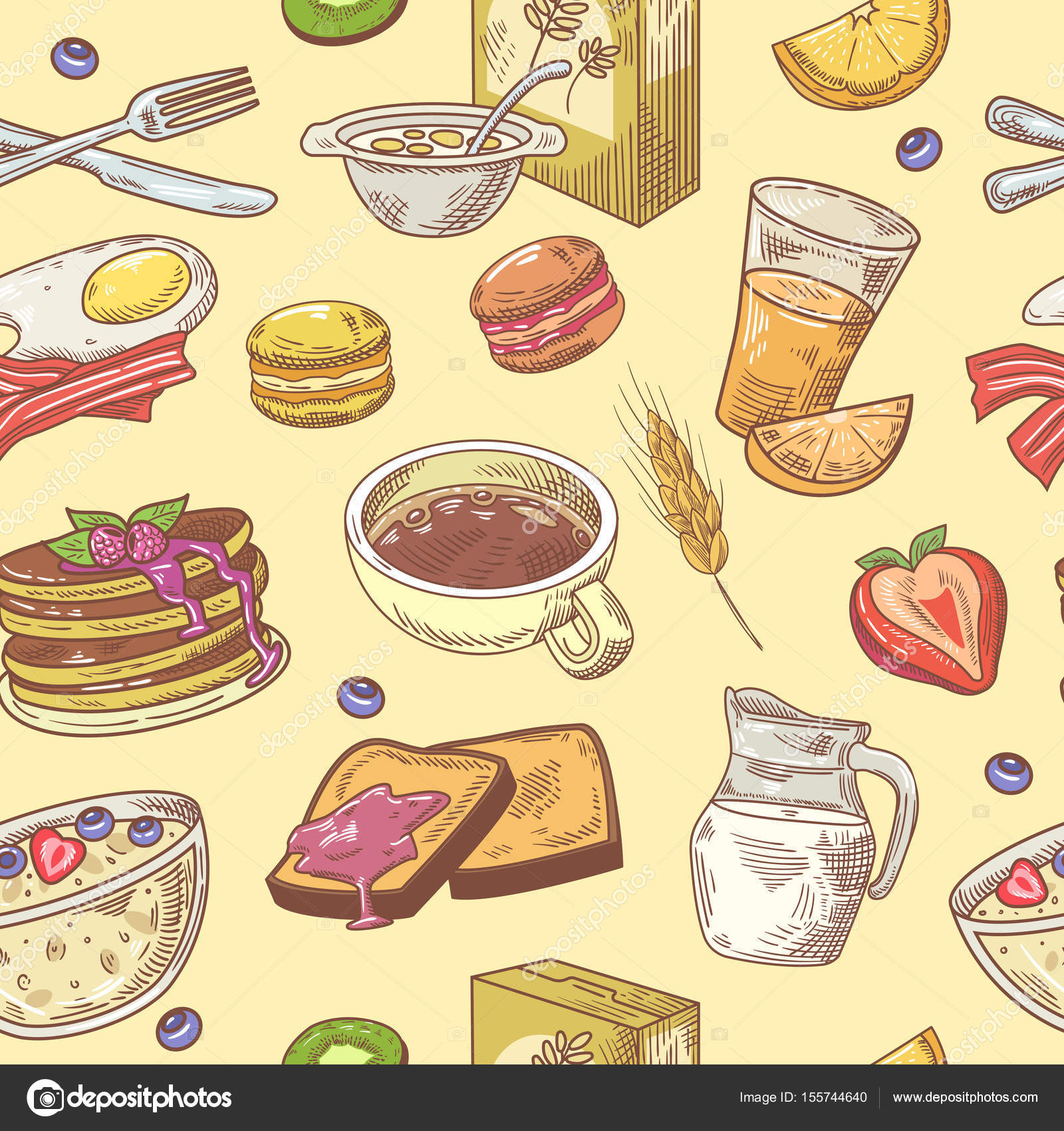 Hand Drawn Breakfast Seamless Pattern With Coffee Fruits And Toasts