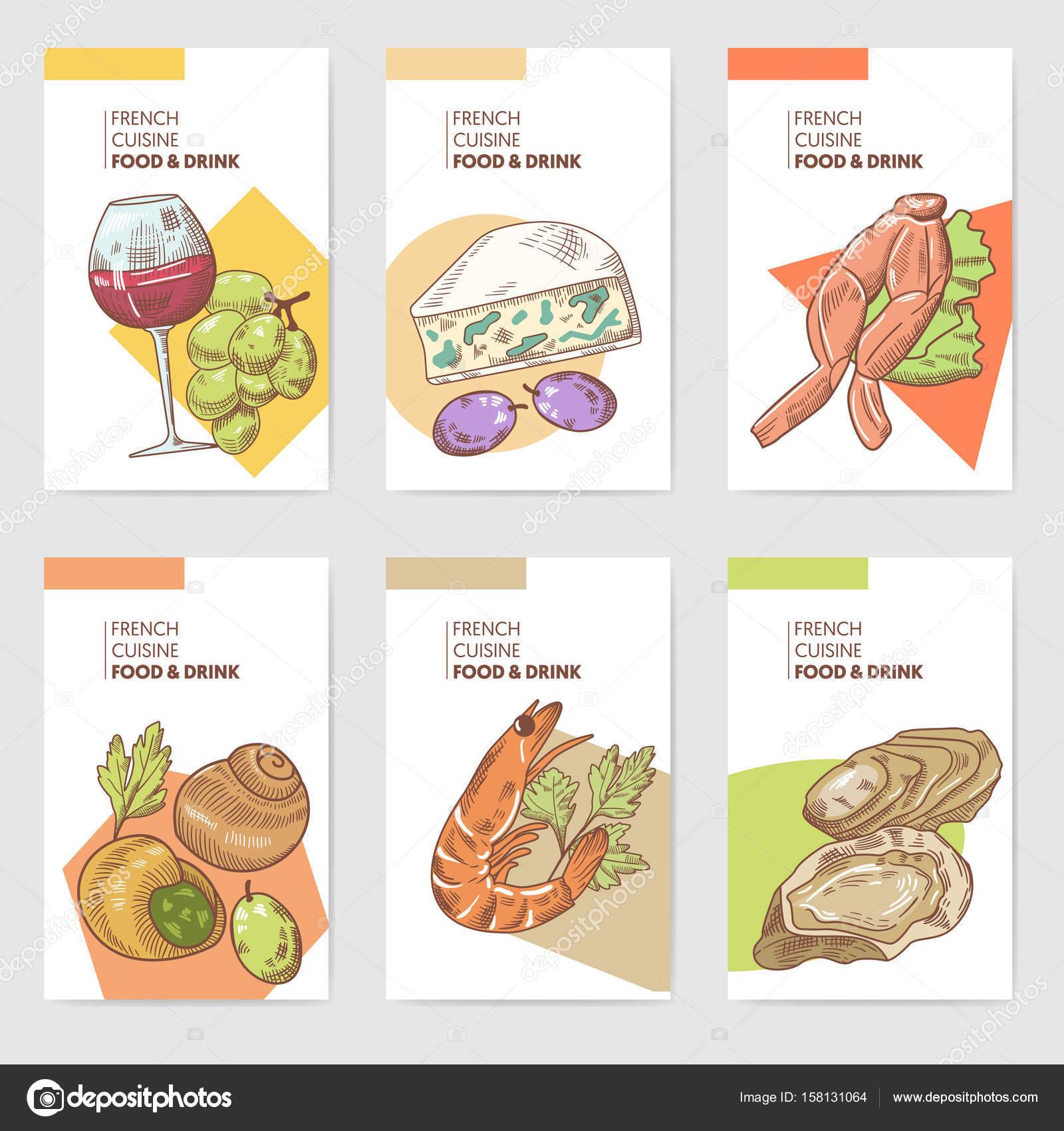Französische Küche handgezeichnete Karten Broschüre Menü mit Wein ...