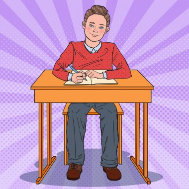 Pop Art Happy Schoolboy Sitting at School Desk. Education Concept. Vector illustration