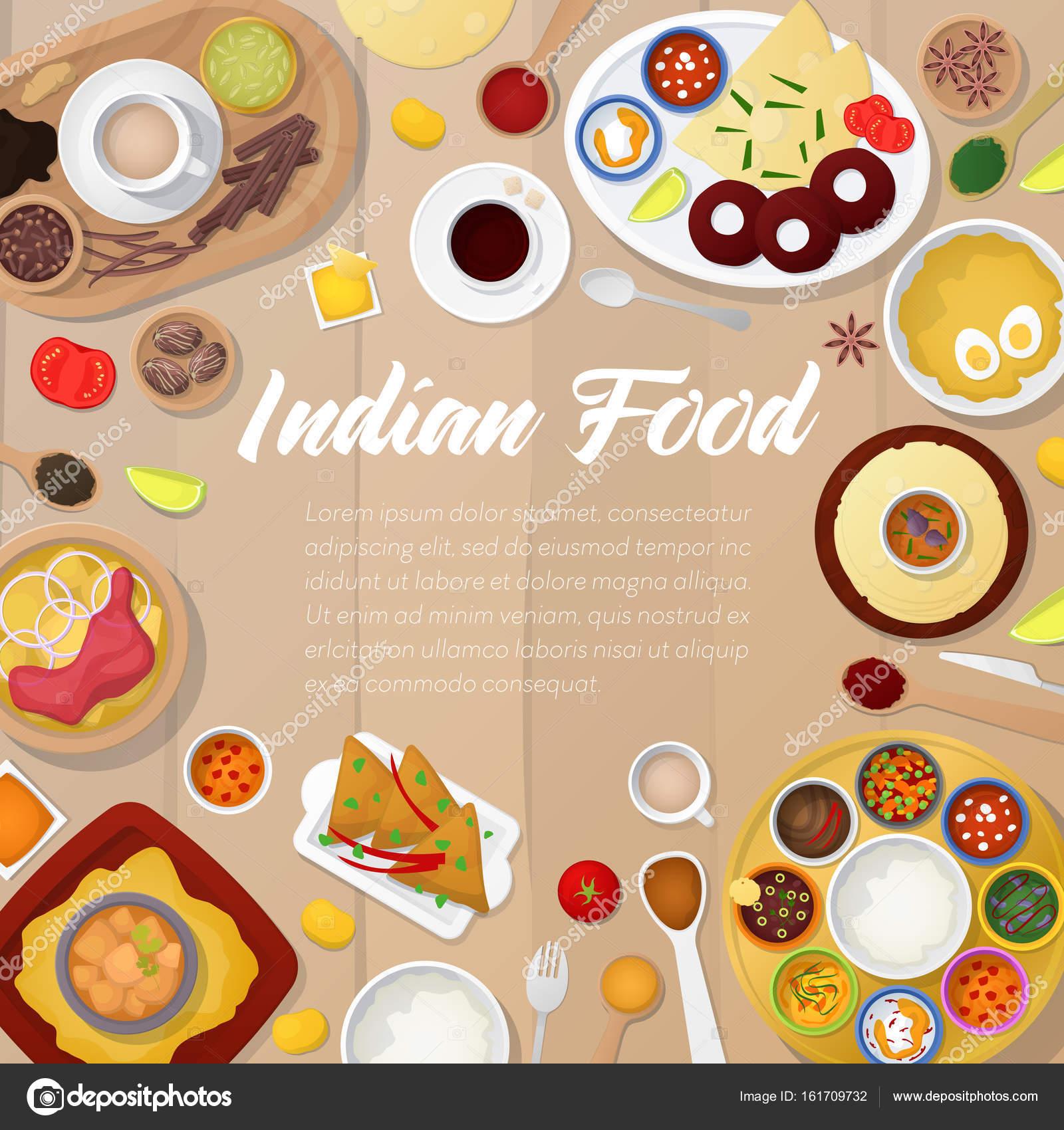 Indische Küche Menüvorlage mit Huhn, Reis und Curry. Traditionelle ...