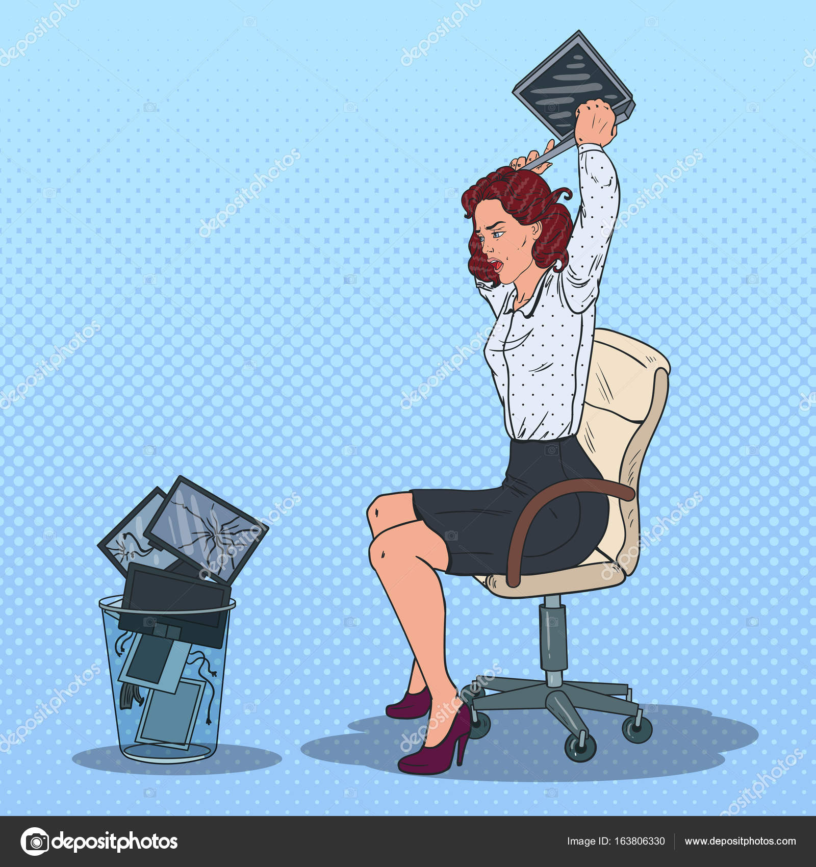 Professional Screeding Pop And Painting Designs Works: Pop Art Stressed Business Woman Throwing Laptop To The