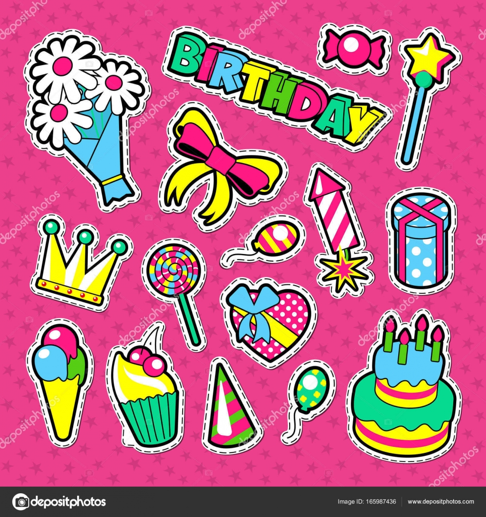 Happy birthday party decoration stickers enfants vacances éléments ensemble illustration vectorielle image vectorielle