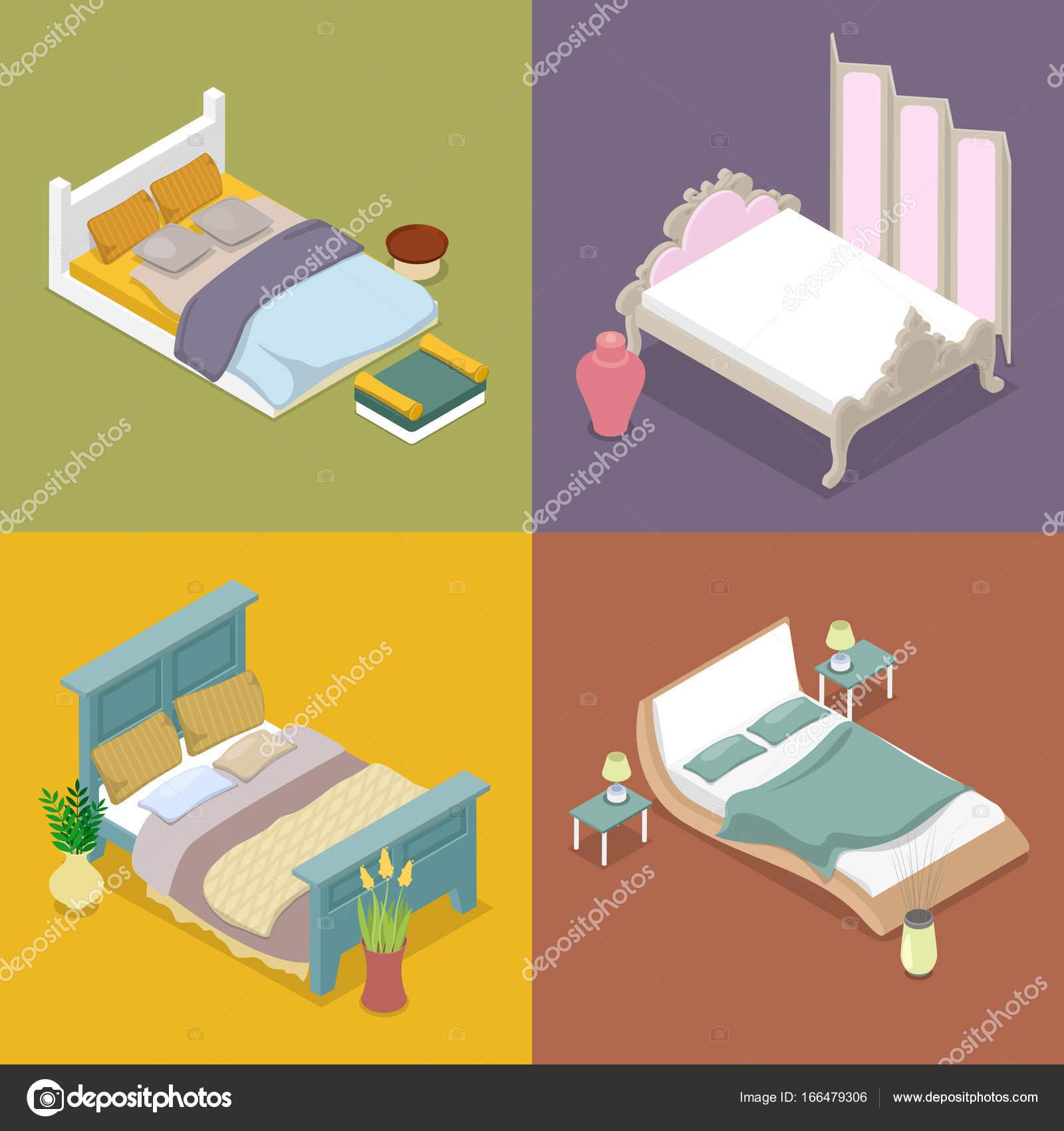 Isométrique Double King Size Bed. Mobilier de chambre — Image ...