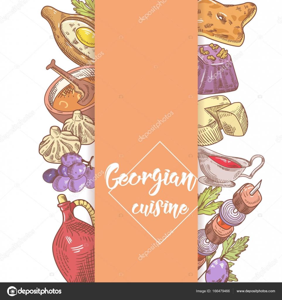 Ręcznie Rysowane Gruzińskie Jedzenie Menu Projekt Kuchnia