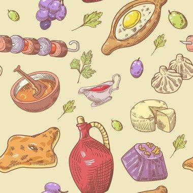 Hand Drawn Georgian Food Seamless Pattern