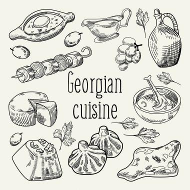 Georgian Food Hand Drawn. Georgia Cuisine