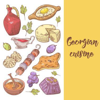 Hand Drawn Georgian Food Menu Cover. Khinkali