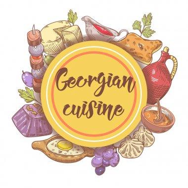 Hand Drawn Georgian Food Menu. Georgia Cuisine