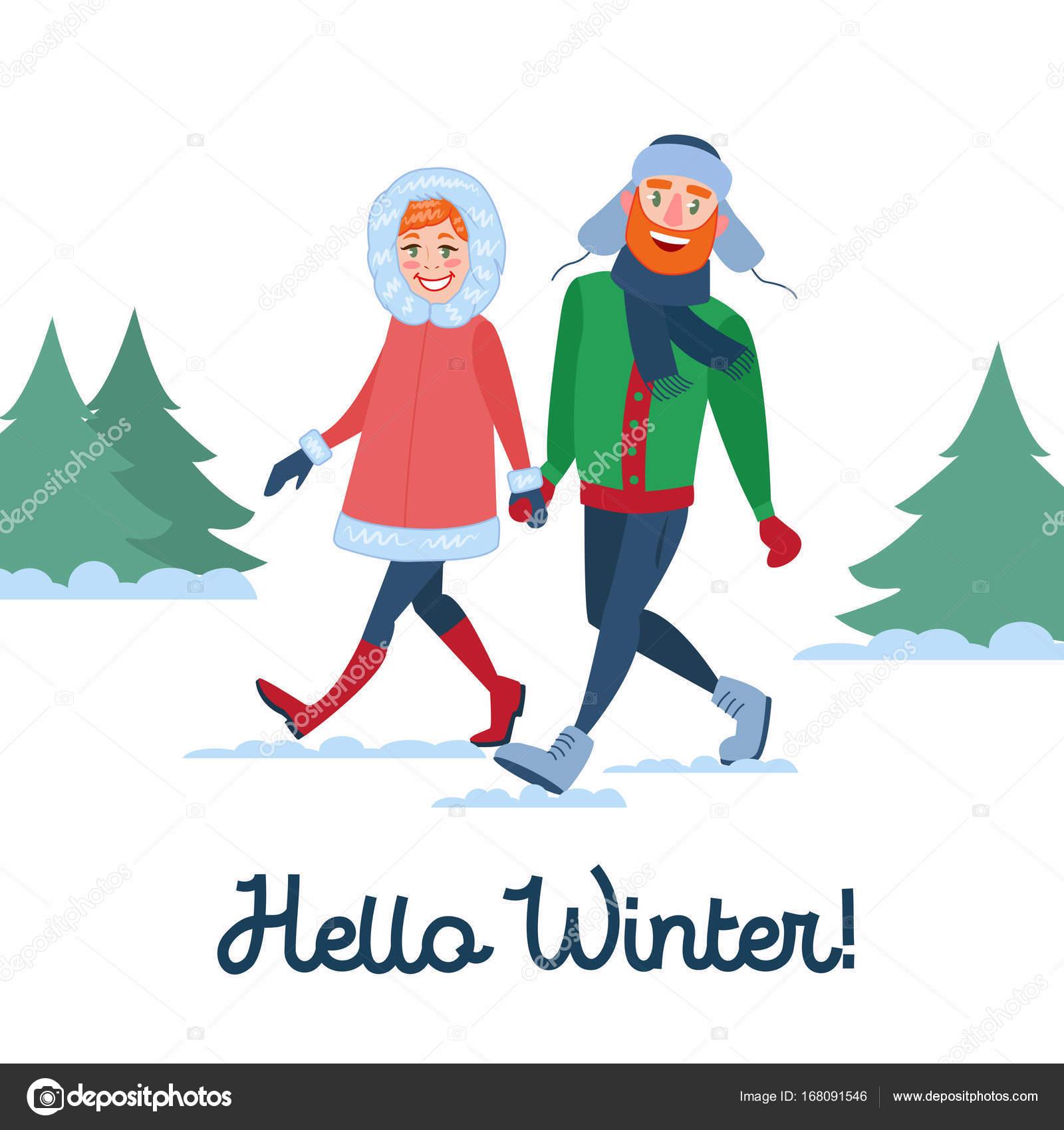 冬の休日の幸せなカップル。男性と女性の歩行に手を繋いでいます