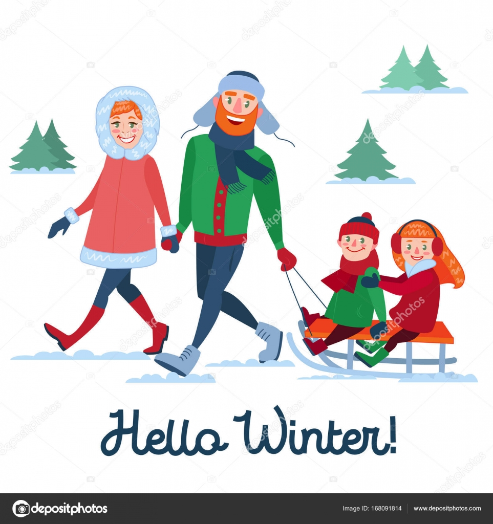 Gentil Happy Family On Winter Holidays. Parents With Kids Sledding. Hello Winter  Season. Vector