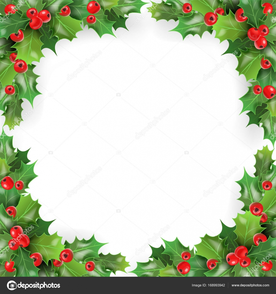 Frohe Weihnachten Rahmen.Frohe Weihnachten Rahmen Mit Mistel Holly Beeren Winter Urlaub