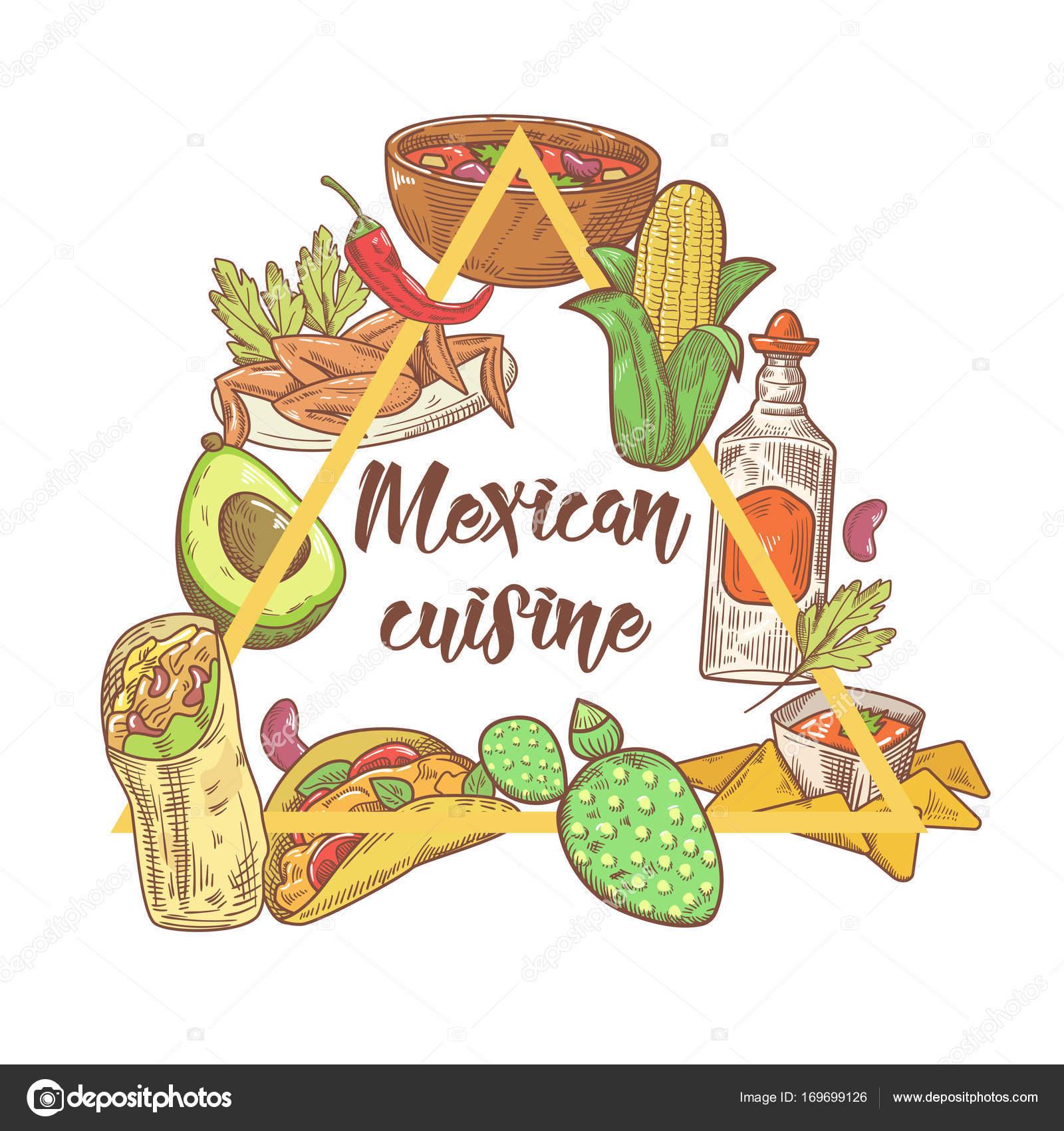 Mexikanisches Essen Hand gezeichnete Doodle. Mexiko-traditionelle ...