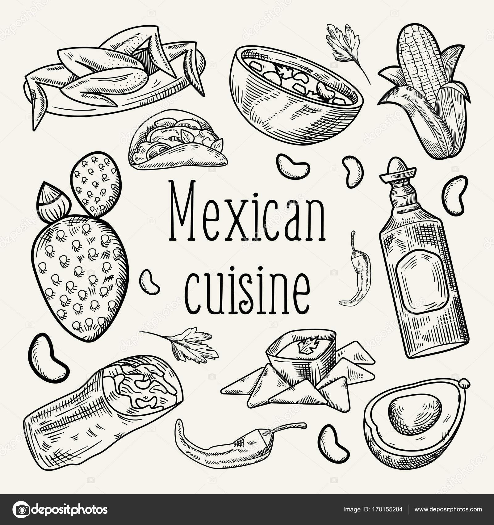 Dibujado a mano comida mexicana descritas Doodle — Archivo Imágenes ...