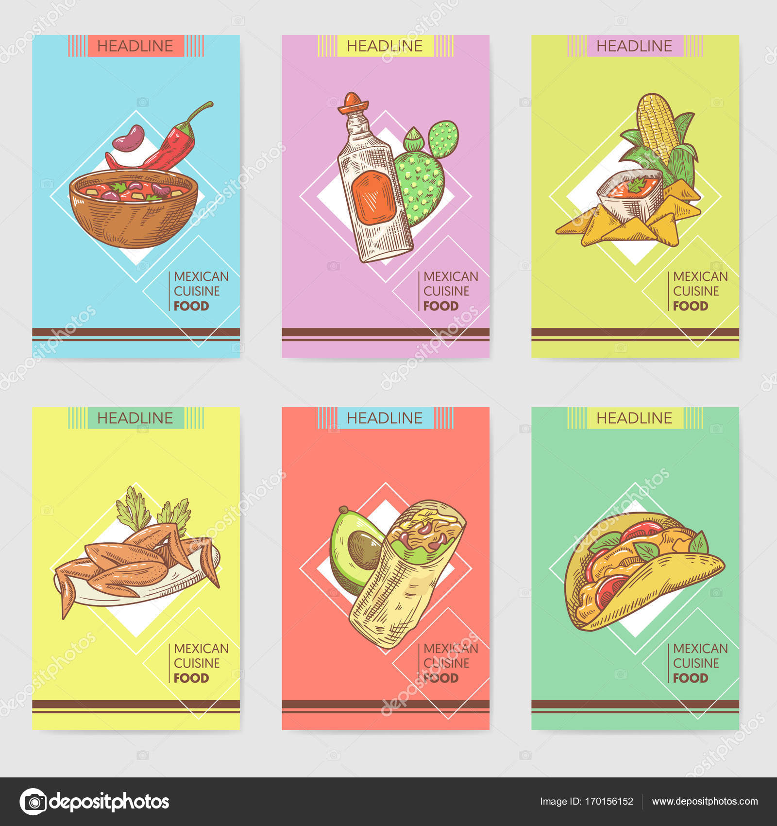 mexican food hand drawn brochure template set stock vector