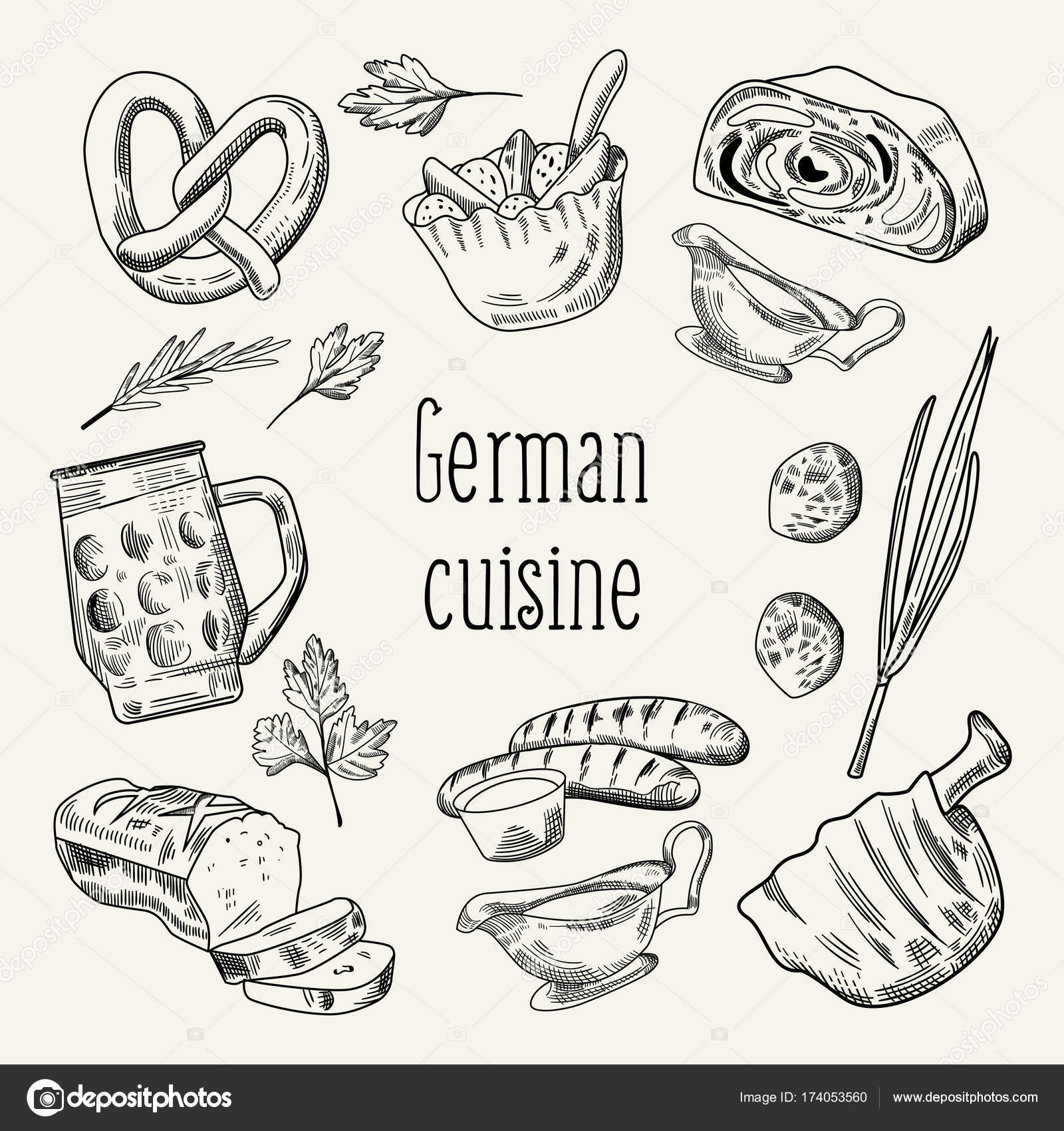 German Traditional Food Hand Drawn Outline Doodle. Germany Cuisine ...