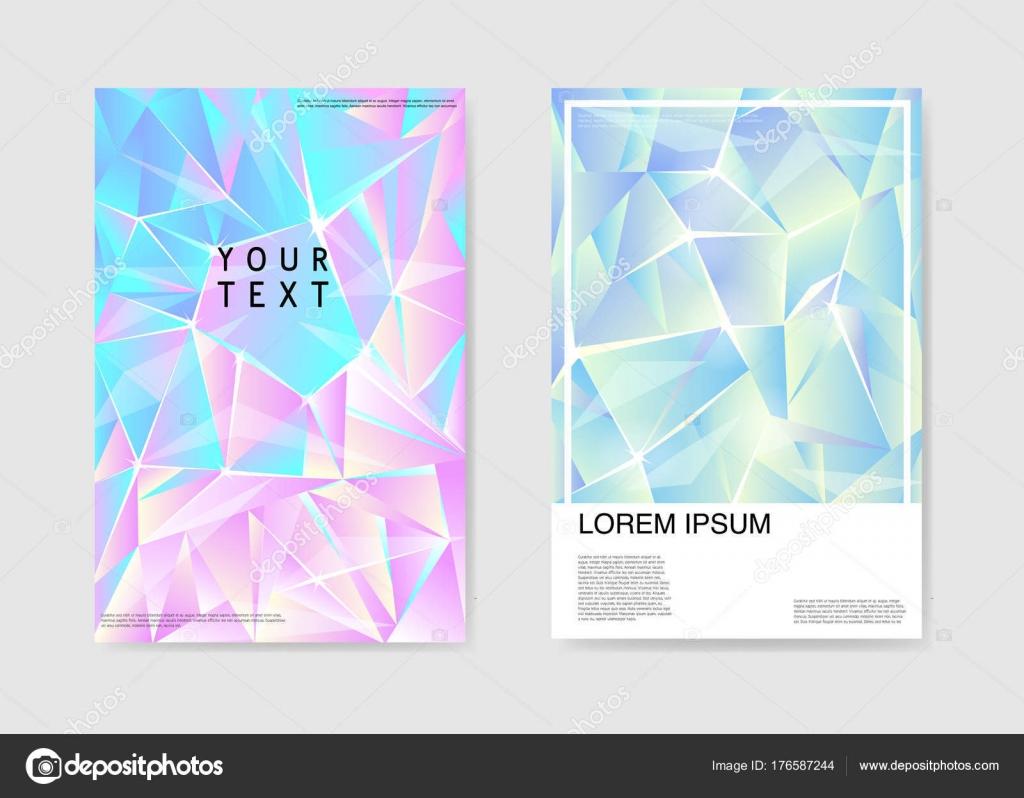 Resumen carteles cubiertas holograma Triangular diseño. Plantilla de ...