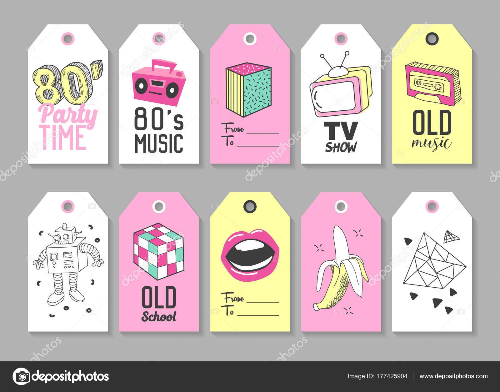 Trendi csípő címkék Retro divat elemekkel. Kézzel rajzolt Vintage címkék.  80-as 90 30dcae0322