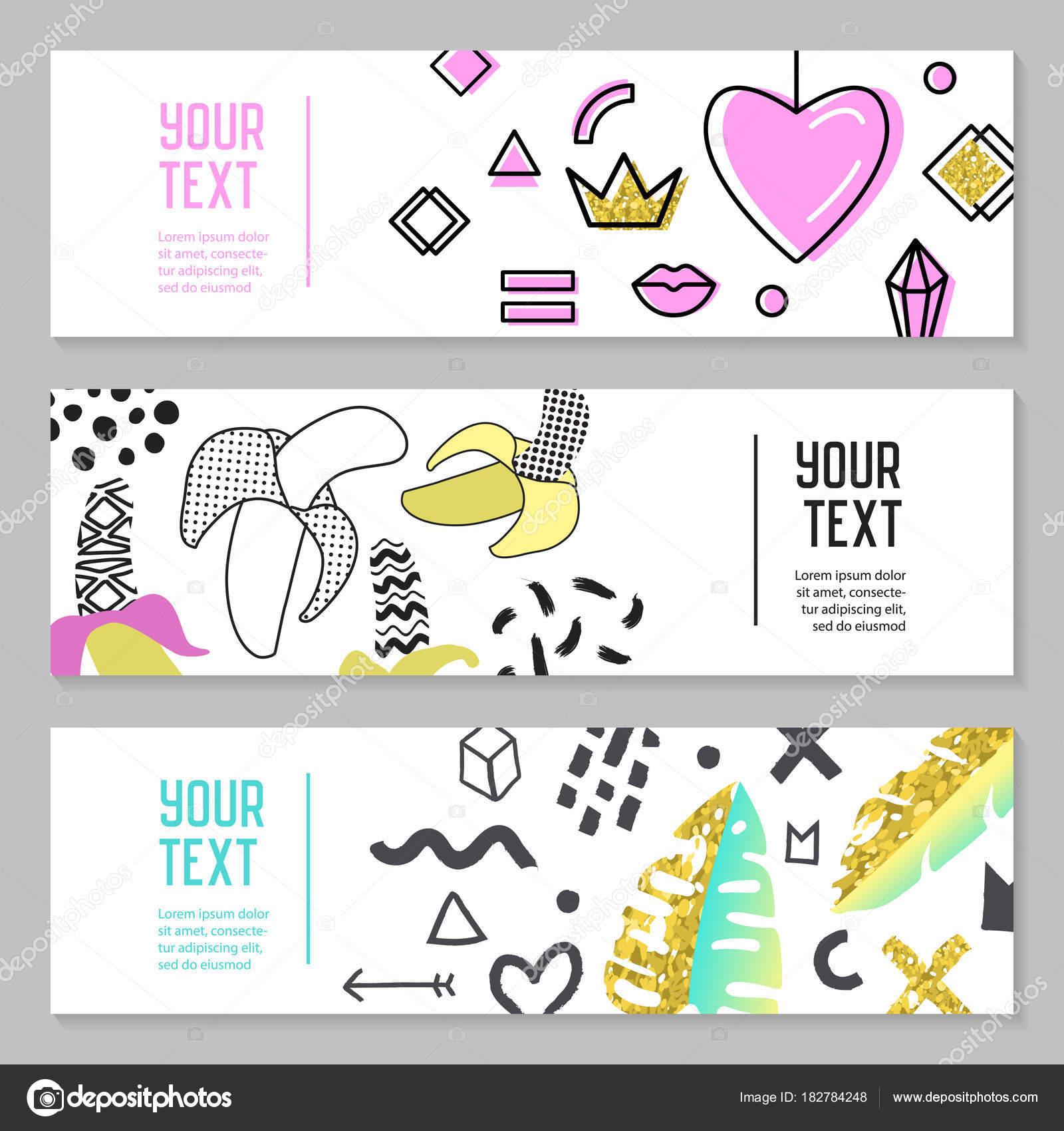 Horizontale Banner Set mit Goldglitter geometrische Elemente, Herzen ...