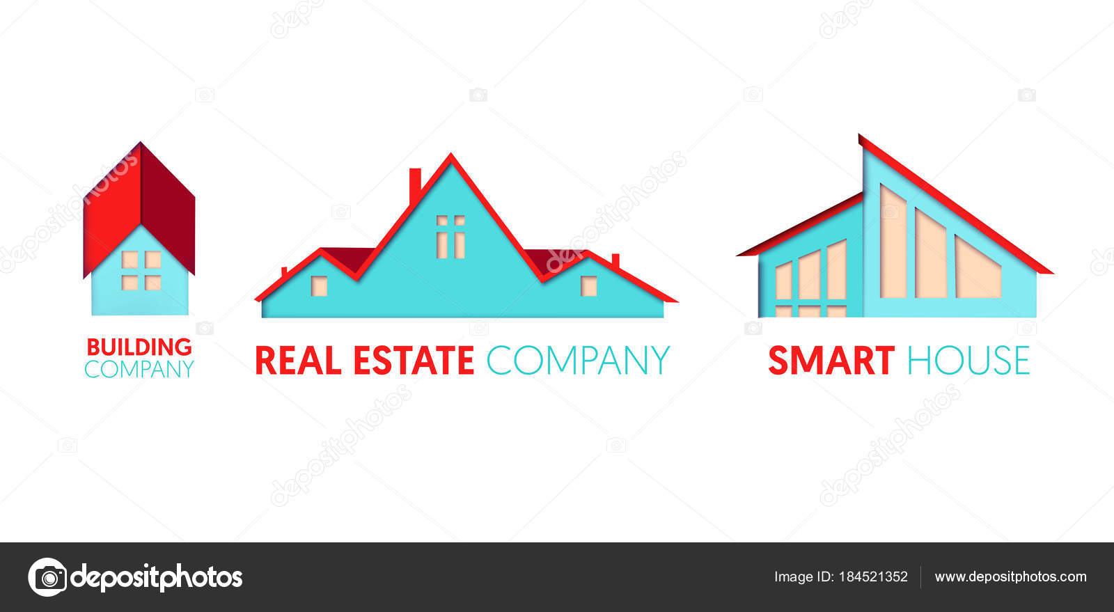 Paper Cut Out Logo Template Set With Private Houses Origami Real Estate Symbols For Branding