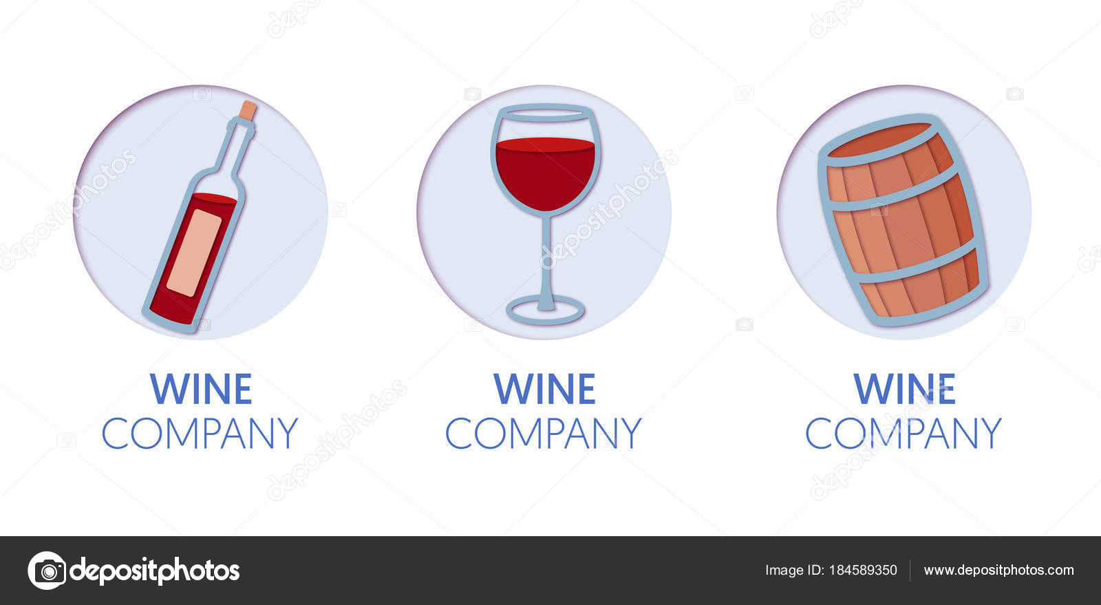Paper cut out logo template set with wine origami winery symbols paper cut out logo template set with wine origami winery symbols for branding brochure biocorpaavc Gallery
