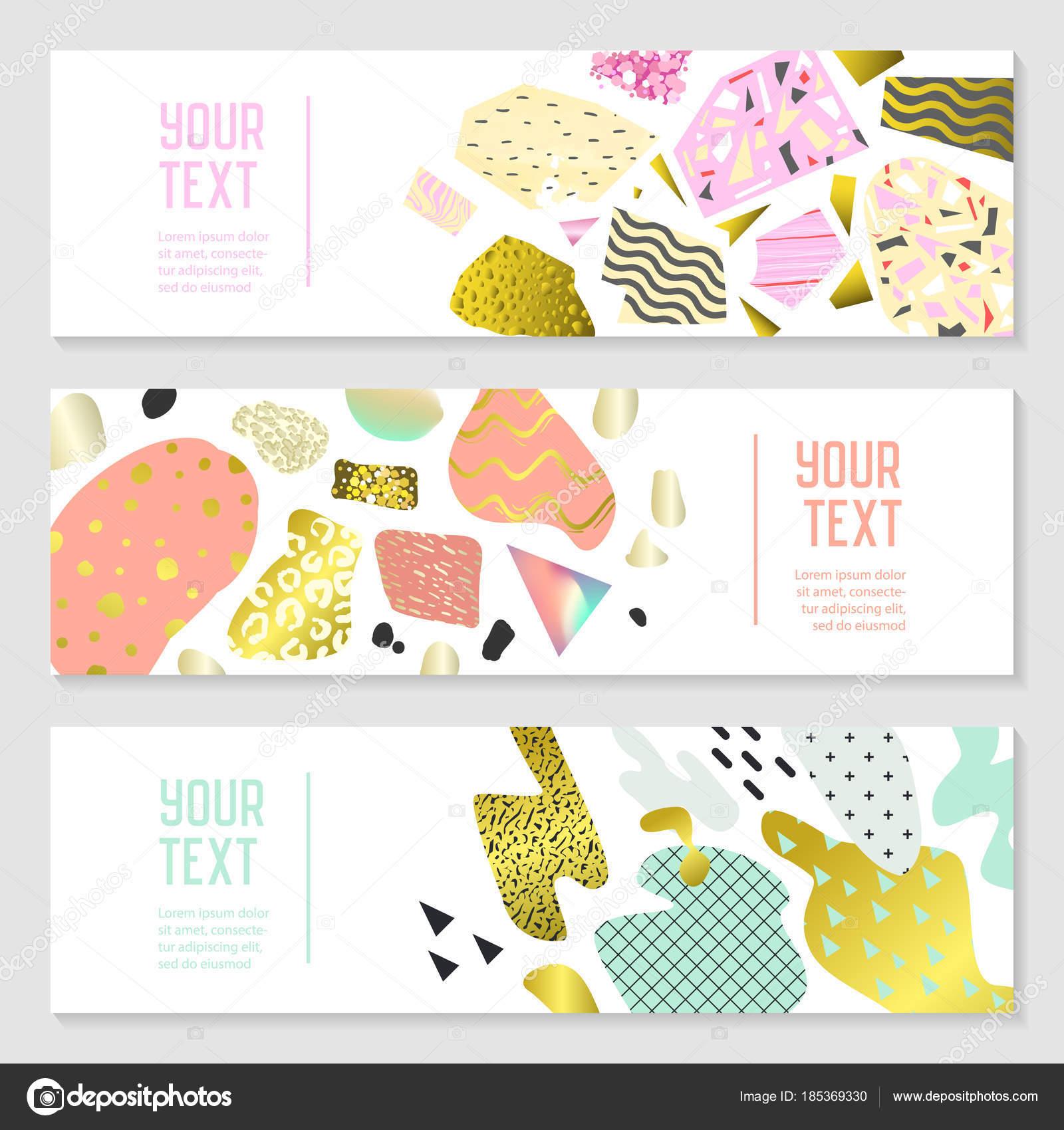 Horizontale Banner Set mit Goldglitter geometrischen Elementen ...