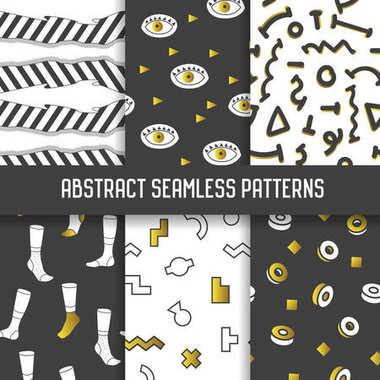 Abstract Seamless Patterns Set. Hipster Style, Geometric, Memphis Backgrounds for Fabric Textile, Wallpaper, Wrapping Paper. Vector illustration